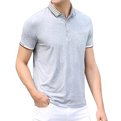 2e3bb266123 Pishon Men s Polo Shirt Summer Slim Fit Pocket Business Casual Short Sleeve  Shirt