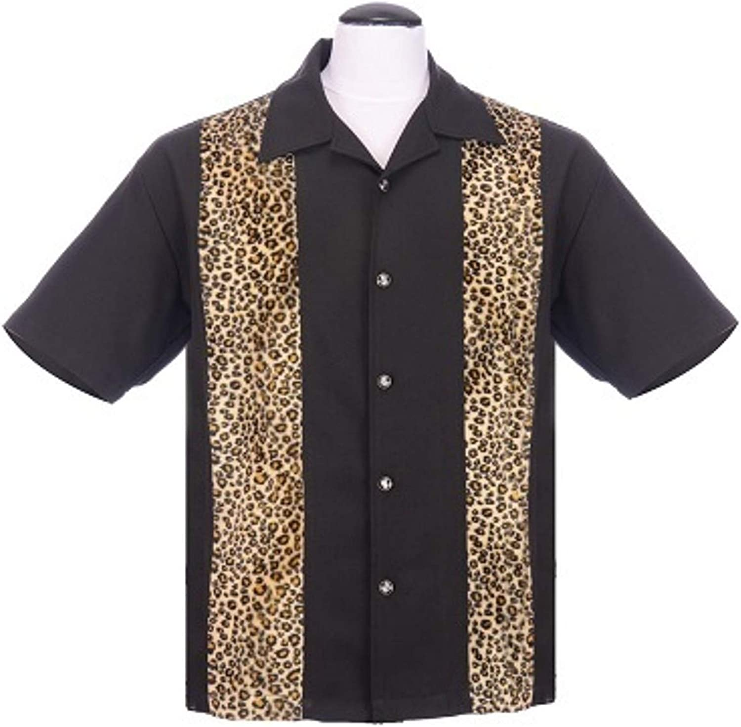 Steady Clothing Leopard Panel Men/'s Button Up Shirt in Black Un-tucked Style