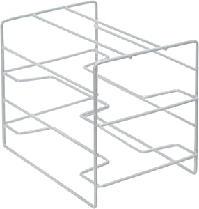 Home Basics W 3 Tier Heavy Duty Kitchen Countertop or Cabinet Organizer for Food Wrap, Foil, Wax Parchment Paper, Plastic Bags, Silver