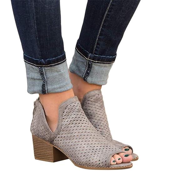 2019 Sandalias Romanas Para Mujer Botines De Tacón Alto Ancho De Vestir Hollow Zapato Solo Peep Toe De Boda Fiesta Con Cremallera Zapatillas De