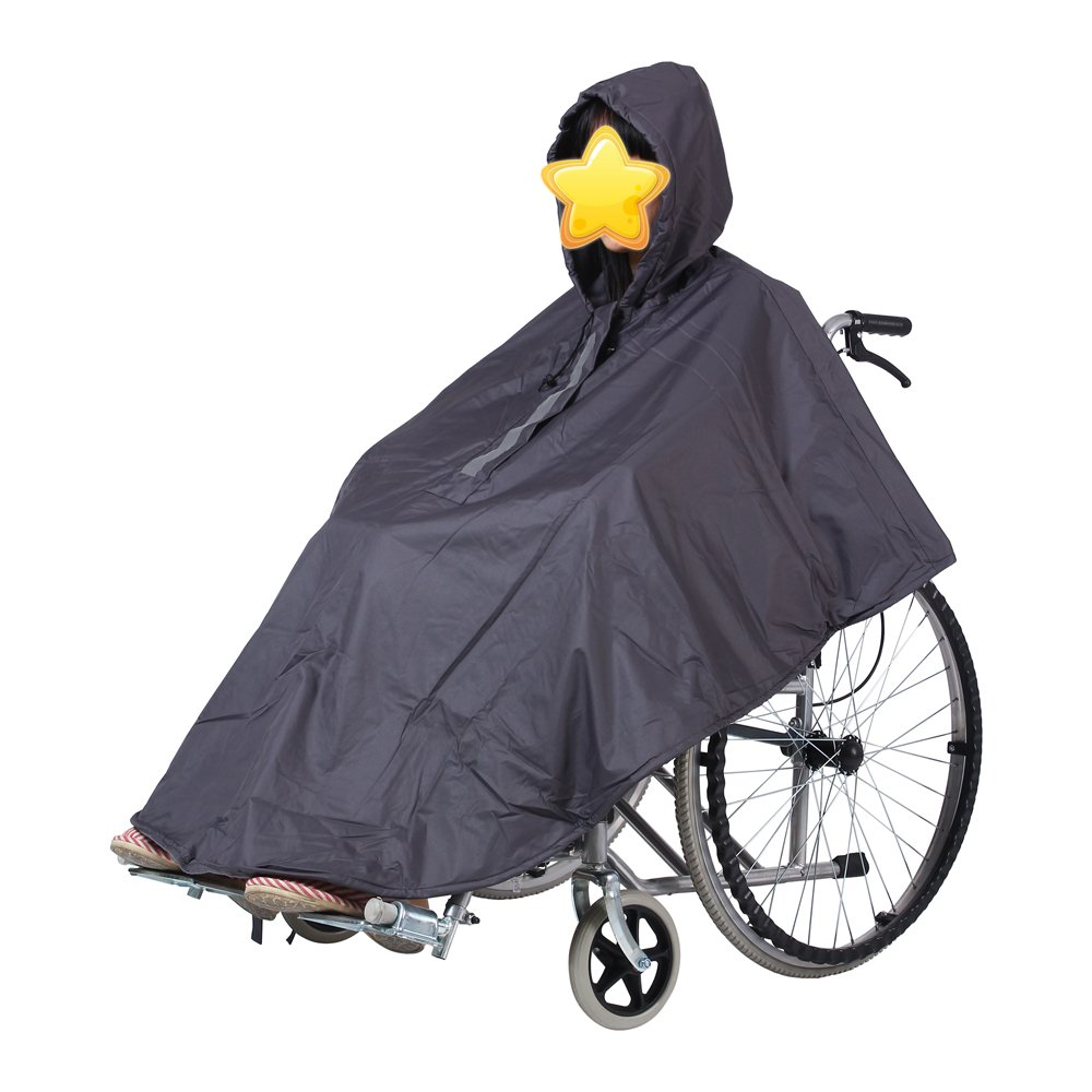 Wheelchair Poncho Winter Rain Cape,Tear Resistant Polyester Cover Poncho with Hooded - Reflective,Lined Tarp,Reusable,Breathable,Warm,Foldable,Portable,Thick (Gray)
