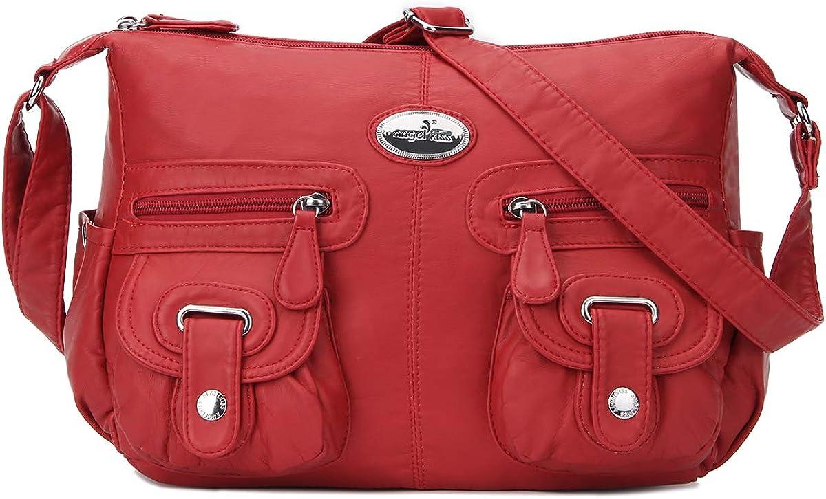 Multi Pocket Crossbody Bag for Women, Ultra Soft Washed Vegan Leather Shoulder Purse