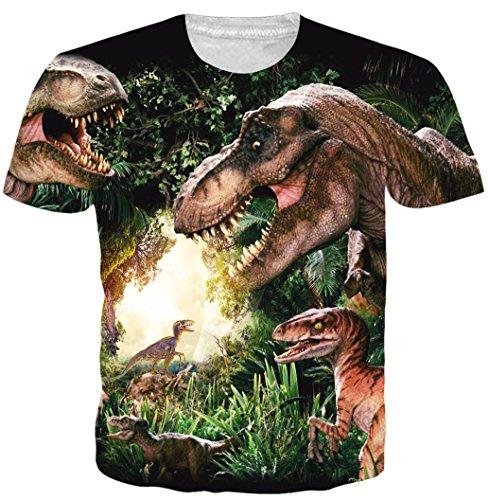 Belovecol Teens Boy Girls 3D Tshirts Print Dinosaur Short Sleve Crewneck Cute Tee Shirts Green S ()