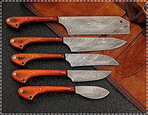 Custom Made Damascus Steel 5 pcs Professional Kitchen Chef Knife Set with 5 Pocket Case Chef Knife Roll Bag by GladiatorsGuild 1033 (Red) by GladiatorsGuild (Image #2)