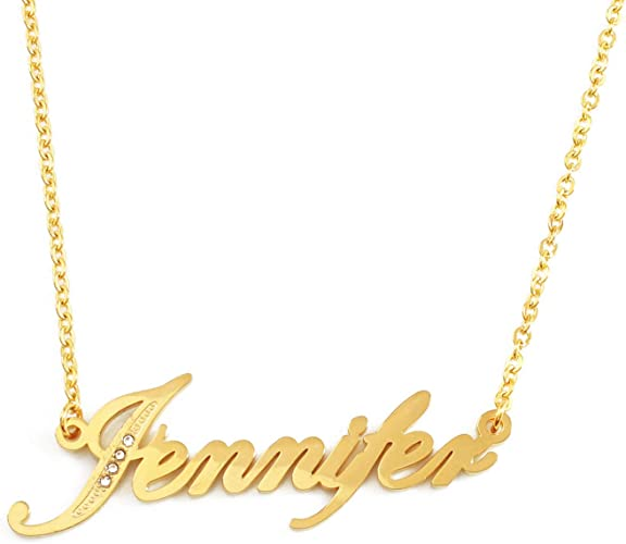 JENNIFER Gold Plated Name Necklace Gift Ideas For Her Fashion Crystals