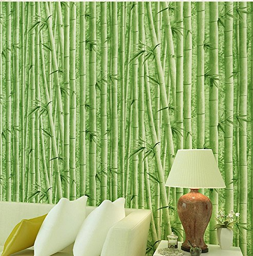 Blooming Wall: Natural Faux Green Bamboo Pattern Wallpaper Natural Scenery Wall Mural, High Quality, 20.8 In*32.8 Ft=57 Sq ft Per Roll,Looks Real (Bamboo Wallpaper)