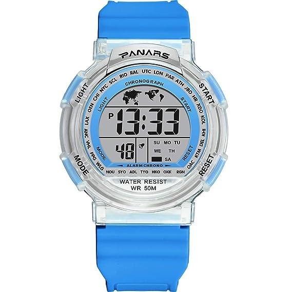 Sannysis Reloj Digital Luminos,Deportivo Relojes Pulsera Unisex,Reloj ABS Moda Automático Multifuncional Deportivos