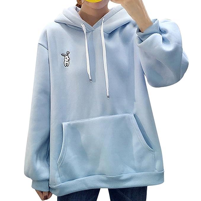juqilu Sudadera para Mujer Bordado Bunny Thick Loose Manga Larga Chándales Bunny Ears Sudadera con Capucha Otoño Invierno Tops Blusa Azul 2XL: Amazon.es: ...