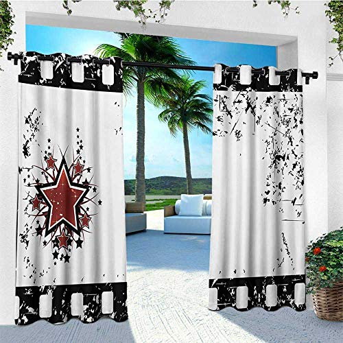 leinuoyi Movie Theater, Outdoor Curtain Ties, Grungy Illustration of Film Strip with Ornamental Stars Cinematography, Outdoor Patio Curtains W108 x L96 Inch Black White Ruby