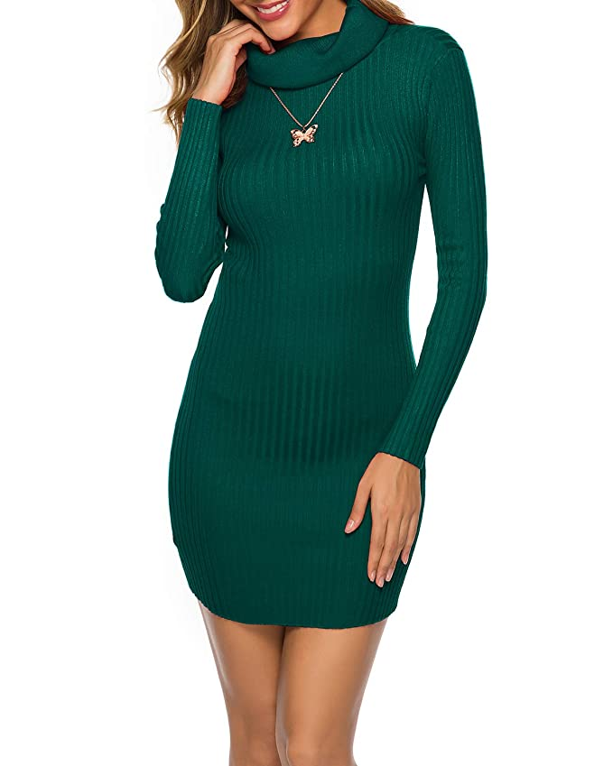 LIOFOER Womens Cowl Neck Knit Stretchable Elasticity Slim Fit Sweater Dresses Green, (US) Medium