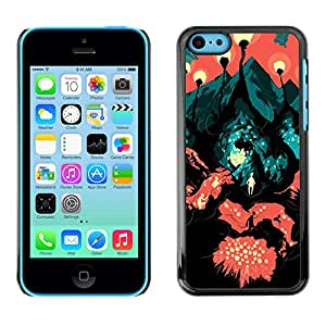 Shell-Star Arte & diseño plástico duro Fundas Cover Cubre Hard Case Cover para Apple iPhone 5C ( Travel Road Symbolic Art Painting City Lava )