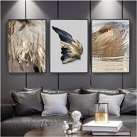 Jwqing 8 stücke Moderne Wohnzimmer Dekoration Gold Feder Abstrakte Poster  Flügel Leinwand Malerei Wandbild Sofa Hintergrund (8x8 cm kein Rahmen)