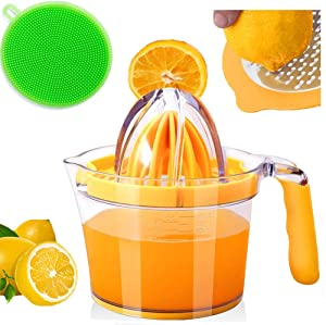 DINGSHUN Citrus Lemon Orange Juicer Manual Hand Squeezer Fruit Juicer Lime Press with Built-in Measuring Cup and Grater and Egg Separator Non-Slip Silicone Handle 20OZ Magic Jucier Kitchen Tool