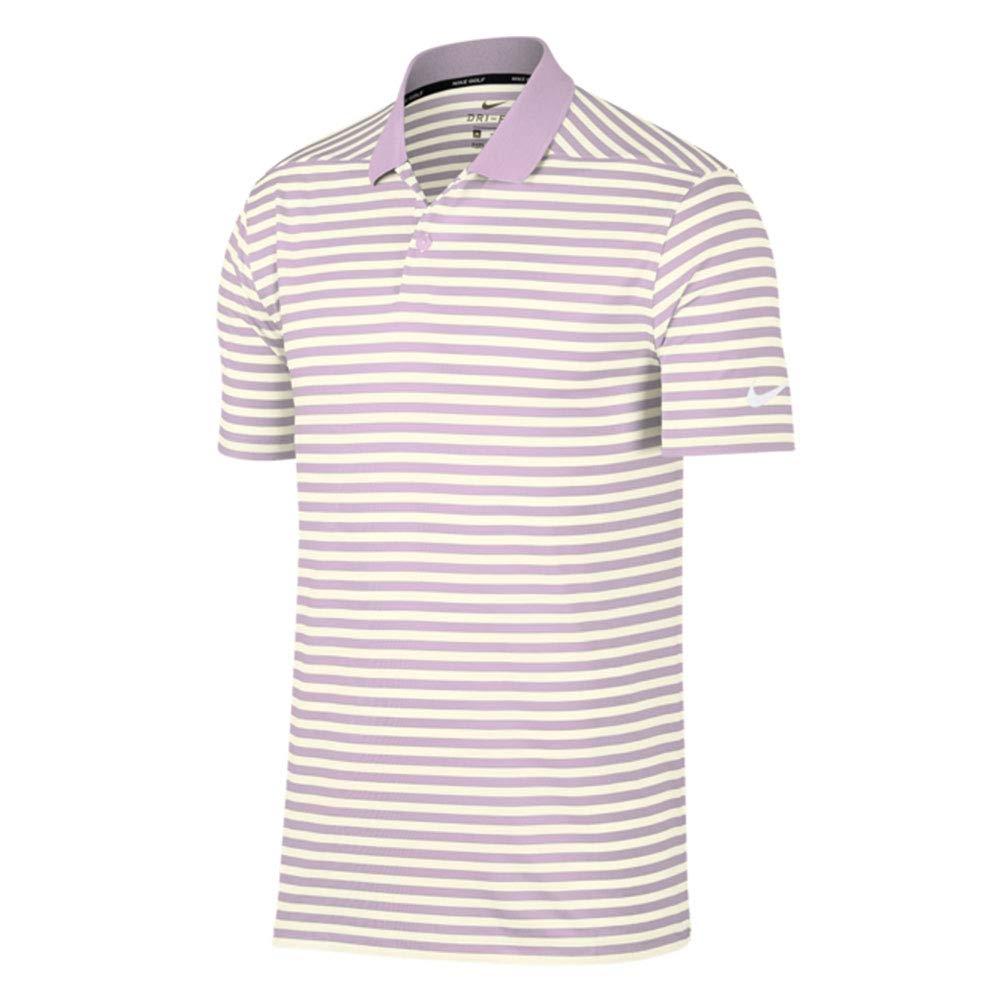 Nike Dri Fit Victory Stripe Golf Polo 2019 Lilac Mist/Sail/White Small