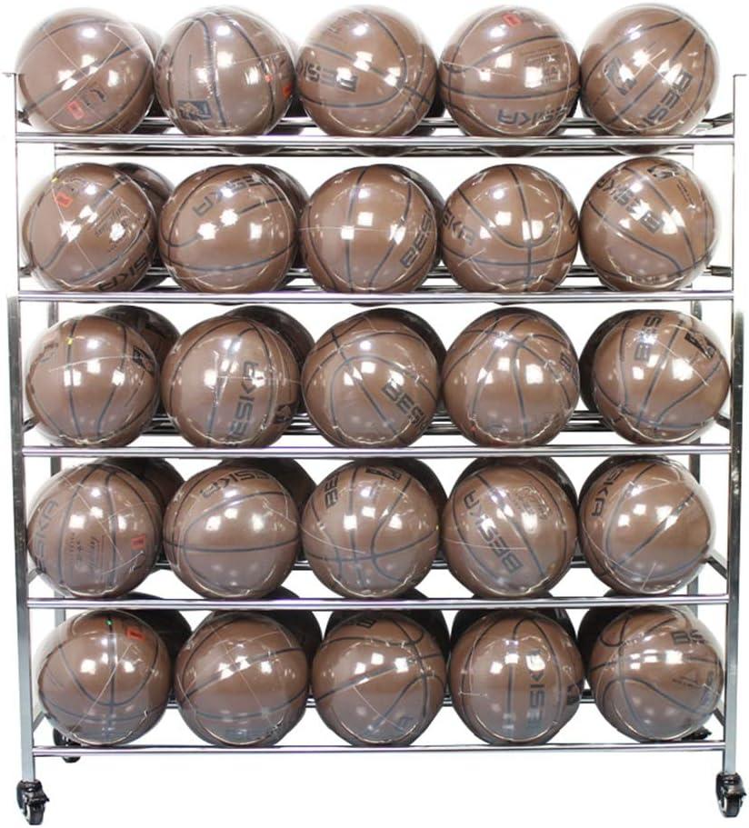 Mebeauty-sp Chariot de Rangement pour Balle de Sport 5 Niveau 50-Ball Sports de Ballon de Stockage Sport Stockage Balle Rack Couleur : Argent, Taille : 123x127x38cm