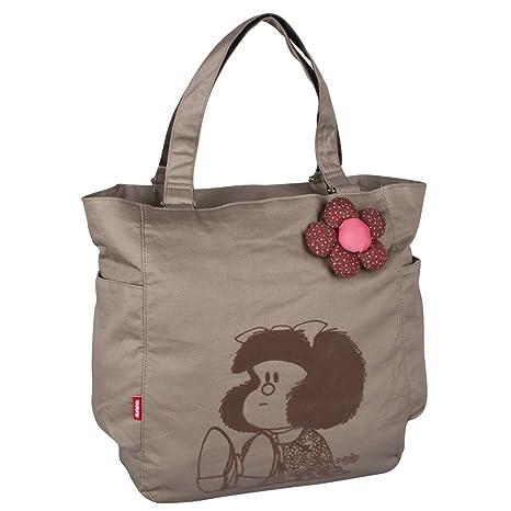 3081ed930a983f Chenson Bolso Escolar Grande Juvenil Femenino Color Beige Linea Mafalda:  Amazon.com.mx