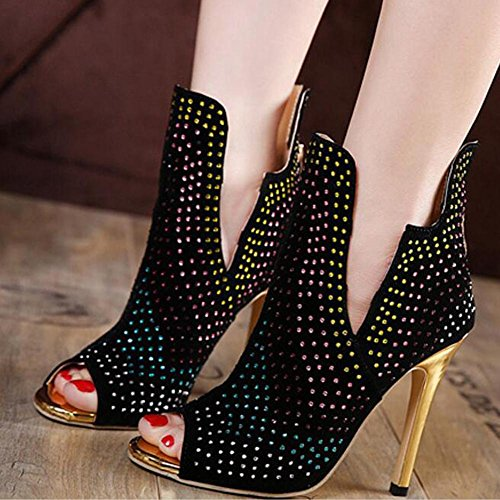 Sandale schwarzen Heel YC Toes Strass Frau funkelnden High Stiletto L Sommer Peep Black Fr¨¹hling TEvxwq