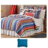 The Pioneer Woman Whimsical Multi Barn Dance Cotton Full/Queen Quilt Bedding with Peacock Blue Standard Sham