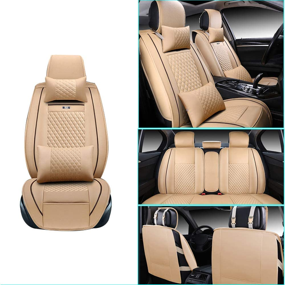 Front and Rear Seats Covers Coffee with headrest and waistrest for Hyundai Kona EV 5 Car Seat Covers Luxury Durable Comfort Leatherette Seat Cushions Airbag Compatible
