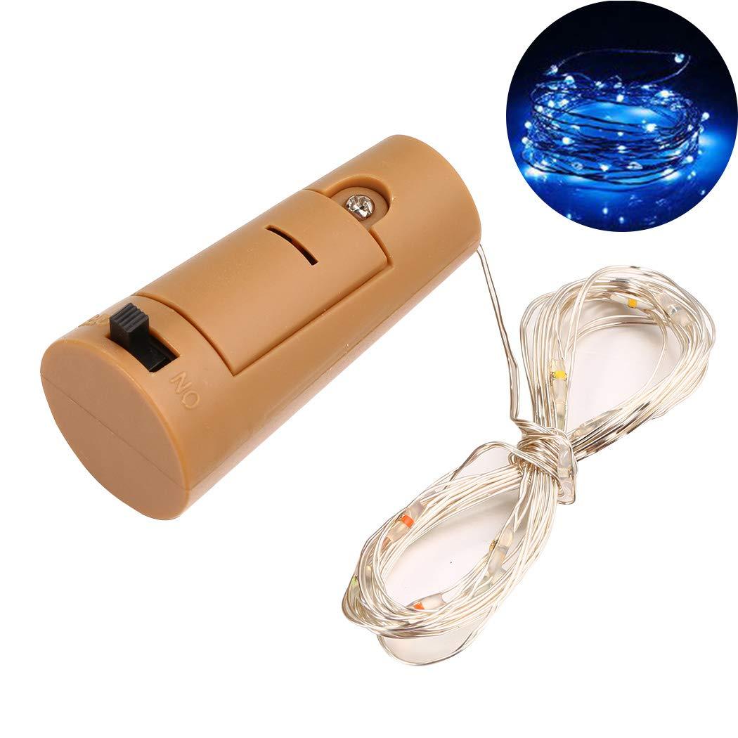 Kaimu Wine Bottle LED String Lights Cork Shaped Bottle Stopper Lights Party Decoration (1M-10Led, Blue)