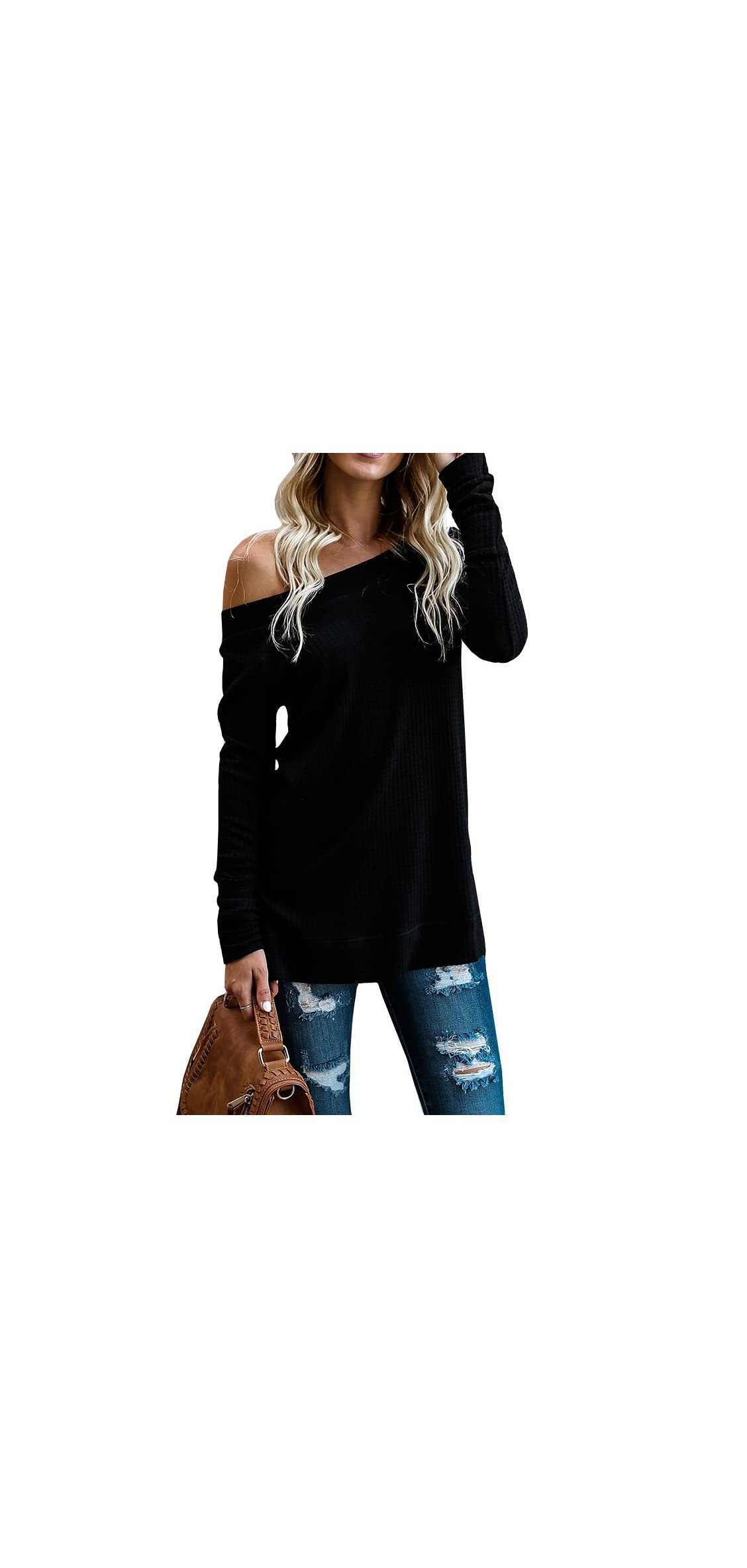 Womens Off The Shoulder Sweater Loose Casual Long Sleeve