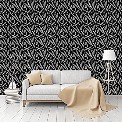 Stripe Fantasy Leaves Patterned Peel & Stick Textured Wallpaper by CustomWallpaper.com