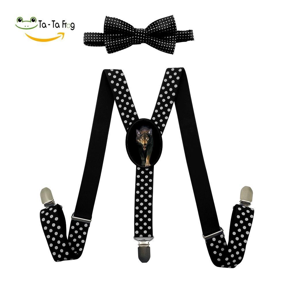 Xiacai Angry Wolf Suspender/&Bow Tie Set Adjustable Clip-On Y-Suspender Boys