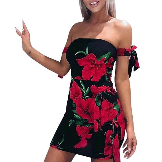 Keepwin Vestidos De Verano Estampado De Flores De Playa Corto Vestido De Las SeñOras Del Verano