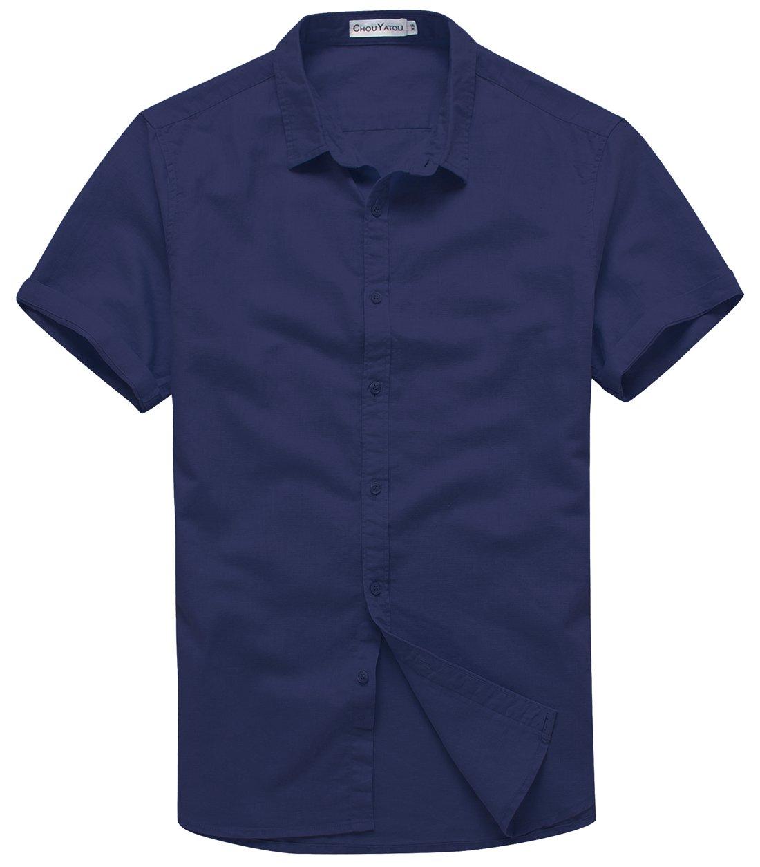 Chouyatou Men's Summer Basic Collar Short-Sleeved Linen Shirts (XX-Large, Dark Blue)
