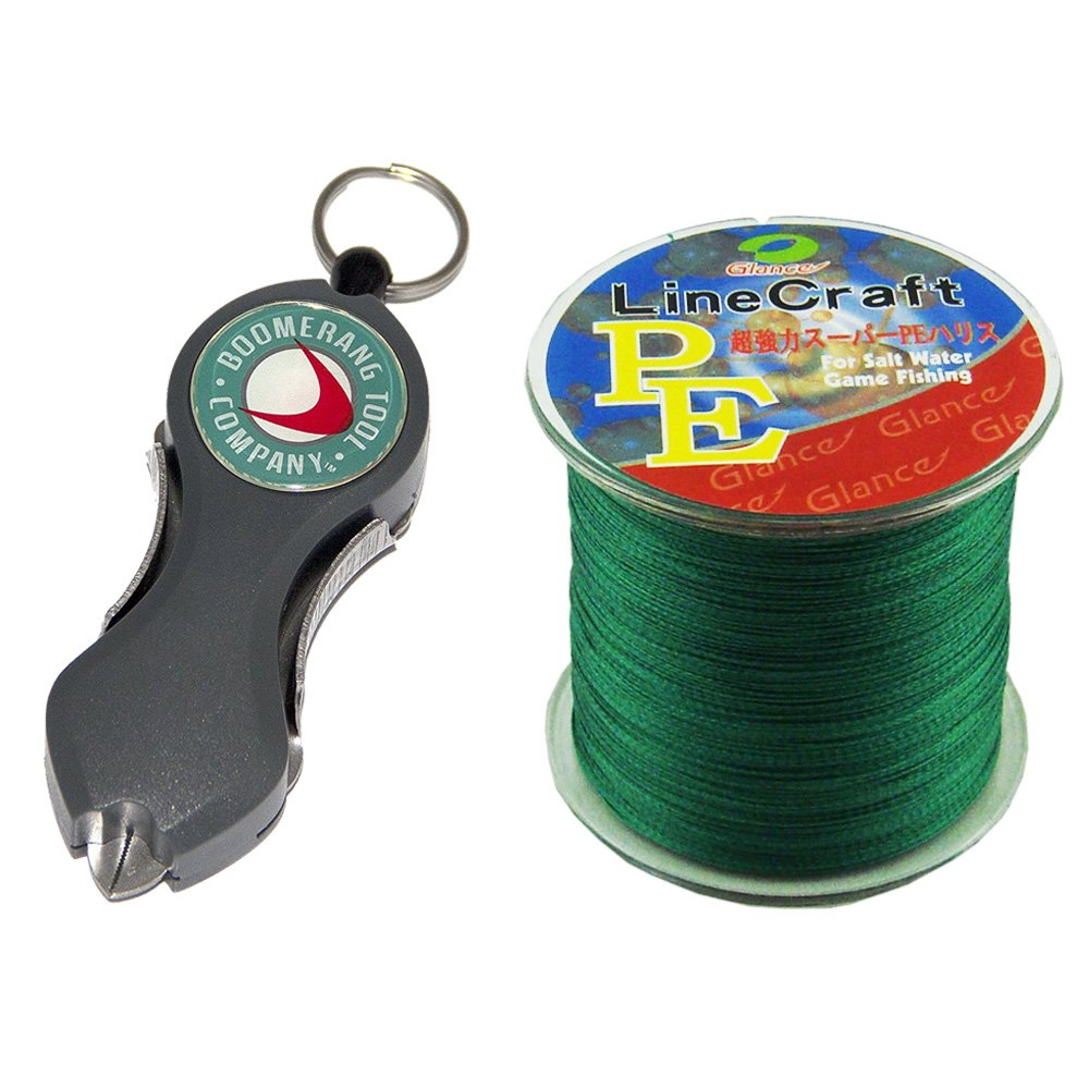 Bundled Snip Gray line cutter Boomerang BTC233 with Braided Green Line Craft PE 300m 100LB. by Boomerang