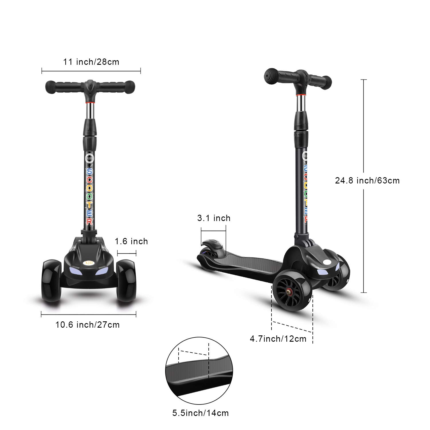 Amazon.com: XJD Kick Scooter para niños 3 ruedas scooter 4 ...