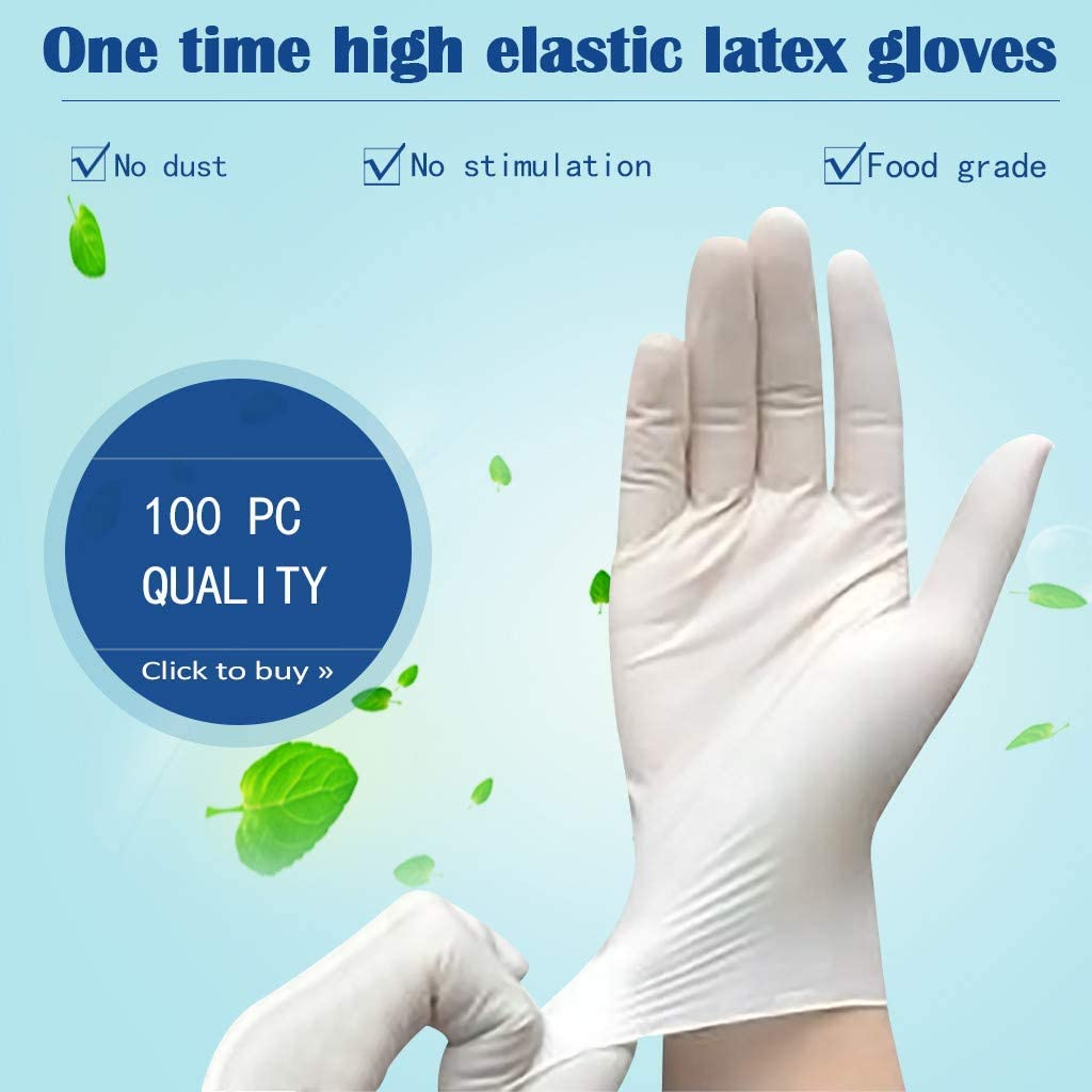 Medium 100 Pcs White Latex Gloves High Density Safety Protective Gloves in Natural Rubber,Food Safe