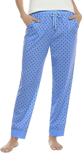 Aiboria Pantalones de Pijama Mujer Punto de Ola - Algodón, Partes de Abajo de Pijamas para Mujer: Amazon.es: Ropa y accesorios