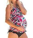 MNLYBABY Women Maternity Leaf Printing Tankini Swimsuit Plus Size Pregnant Two Piece Beach Swimwear