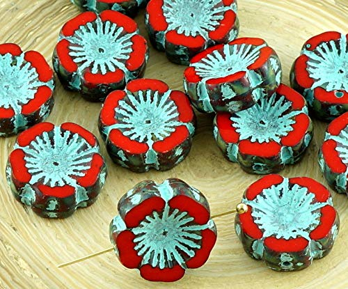6pcs Picasso Coral Red Turquoise Wash Czech Glass Flat Carved Table Cut Window Hawaiian Flower Beads Coin 14mm