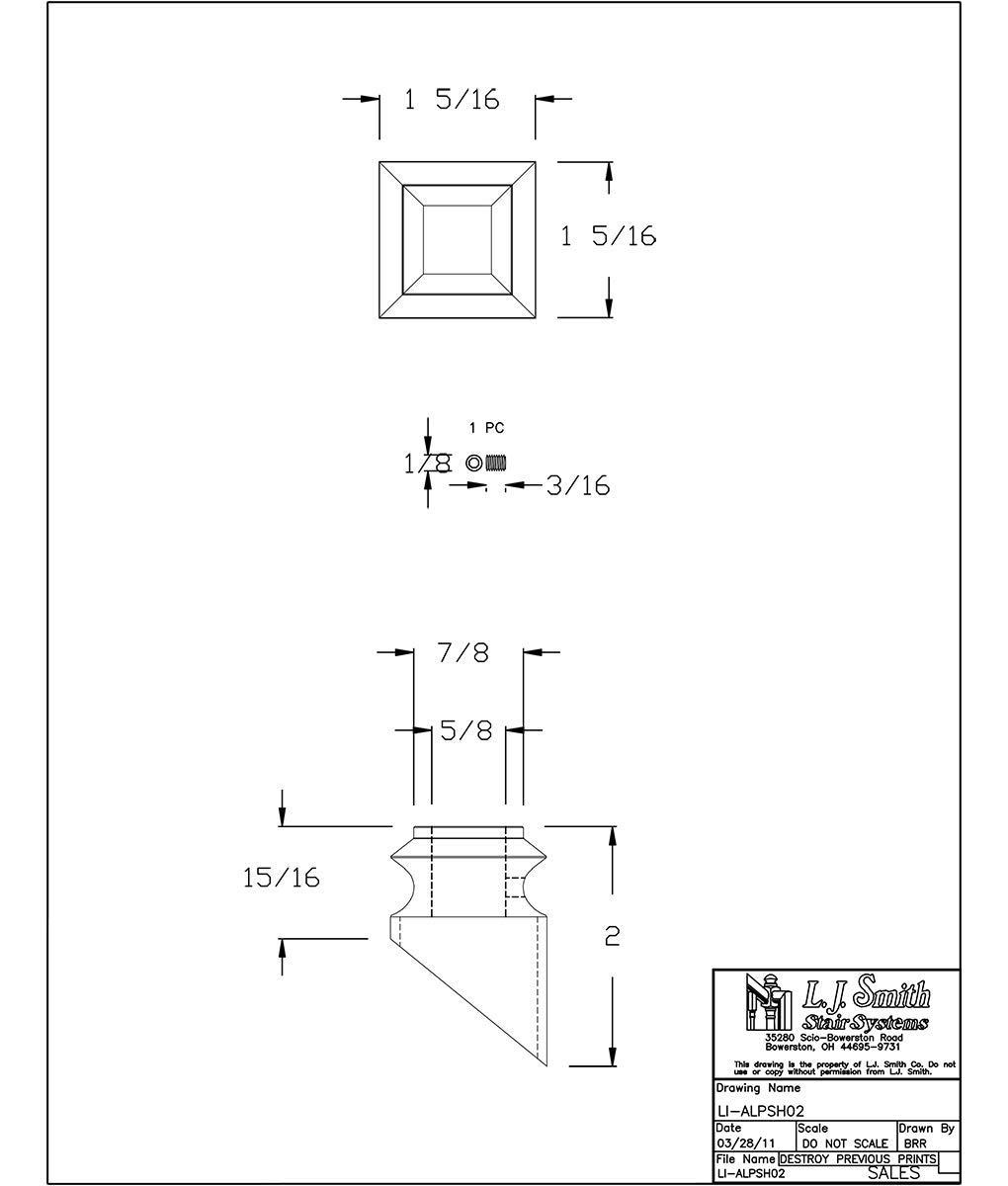 LI-ALPSH02-MB: Aluminum Pitch Shoe for 1/2'' Hollow Square Aluminum Balusters (Matte Black)