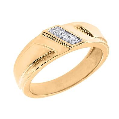 f52ae45669 Men's 14k Yellow Gold 3-Stone Diagonal Set Diamond Wedding Band, Size 4