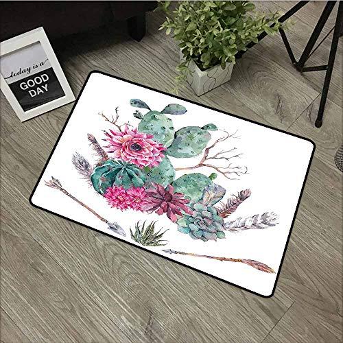 - LOVEEO Rubber Doormat,Cactus Decor Exotic Natural Vintage Watercolor Bouquet Bohemian Arizona Vegetation,Bathroom mat,16