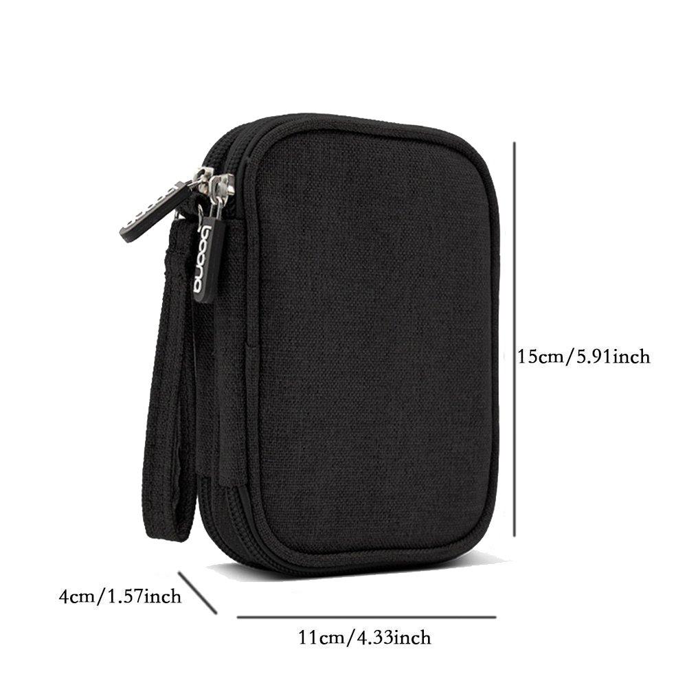 Honeystore Universal Double Layer Travel Gear Organizer Portable Electronic Accessories Storage Case Gadgets Organizer Bag for iPad Mini, USB Cable, Plug, Flash Drive, Charger, Earphone and More Black by Honeystore (Image #2)