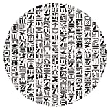 iPrint Round Tablecloth [ Egyptian,Ancient Egyptian Hieroglyphic Writing Monochrome Composition Old Signs Symbols Decorative,Black White ] Fabric Home Set