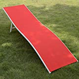 GHP Red 74''L x 20''W x 18''H Folding Chaise Lounge w Durable Steel Frame