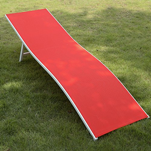 GHP Red 74''L x 20''W x 18''H Folding Chaise Lounge w Durable Steel Frame by Globe House Products