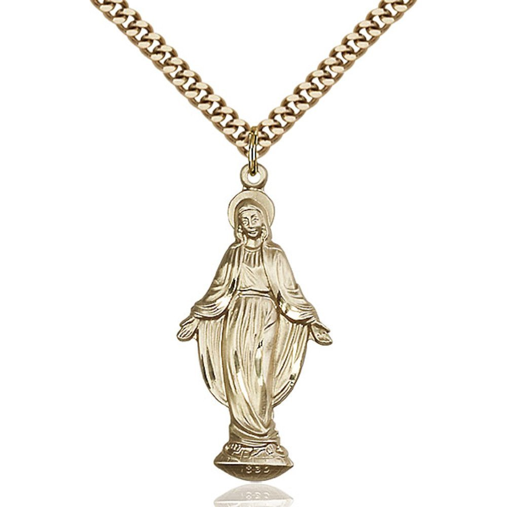 Gold Filled Miraculous Pendant 1 3/8 x 5/8 inches with Heavy Curb Chain