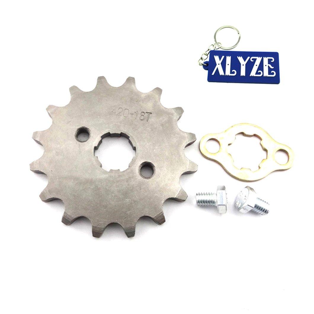 XLYZE 420 16 Dientes 17mm Engranaje del pi/ñ/ón de la rueda delantera del motor para ATV 50cc 70cc 90cc 110cc 125cc Pit Dirt Bike XR CRF 50 SSR