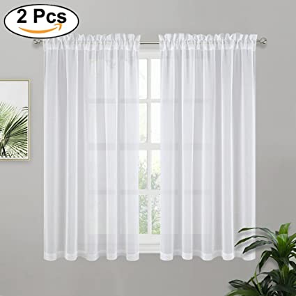 pony dance white sheer curtains linen look short voile curtain valances home decor elegant rod - White Sheer Curtains