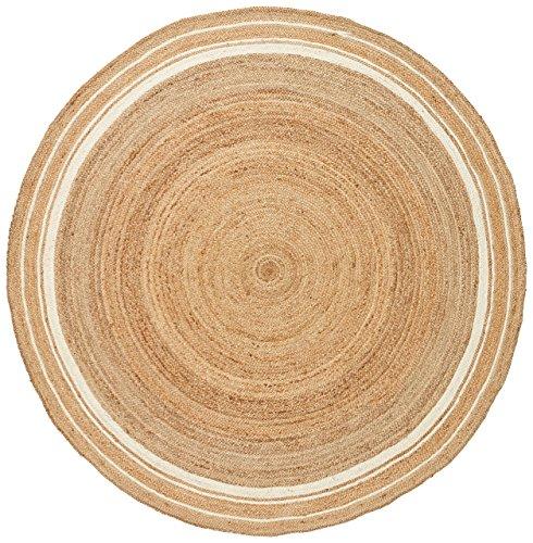 Stone & Beam Contemporary Rikki Border Jute Rug, 6' Round, Bleached Denim by Stone & Beam
