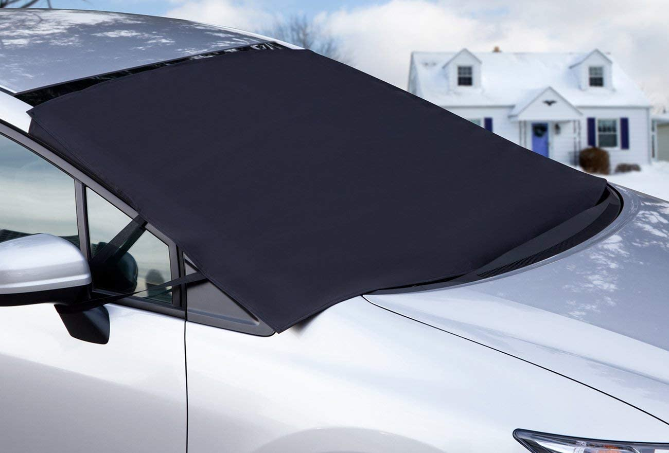 Ice Removal with 4 Layers Protector Waterproof Automotive Windshield Cover with Magnets for Snow Dust Frost UV Rays Fits All Seasons Most Vehicles 58x47 in ISFC Car Windshield Snow Cover