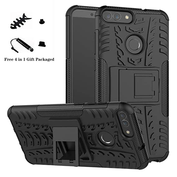 best sneakers 28801 96f34 Huawei P Smart case,LiuShan Shockproof Heavy Duty Combo Hybrid Rugged Dual  Layer Grip Cover with Kickstand for Huawei P Smart Smartphone (with 4in1 ...