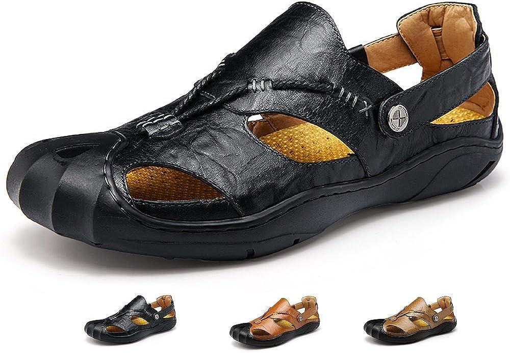 Lijeer Sandalias Deportivas Verano los Hombres Libre Pescador Al Aire Playa Zapatos Cuero Casuales Transpirable no Correas Senderismo