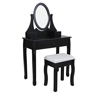 Songmics Black Dressing Table Set 3 Drawers With Swivelling Mirror And  Stool For Bedroom RDT02H